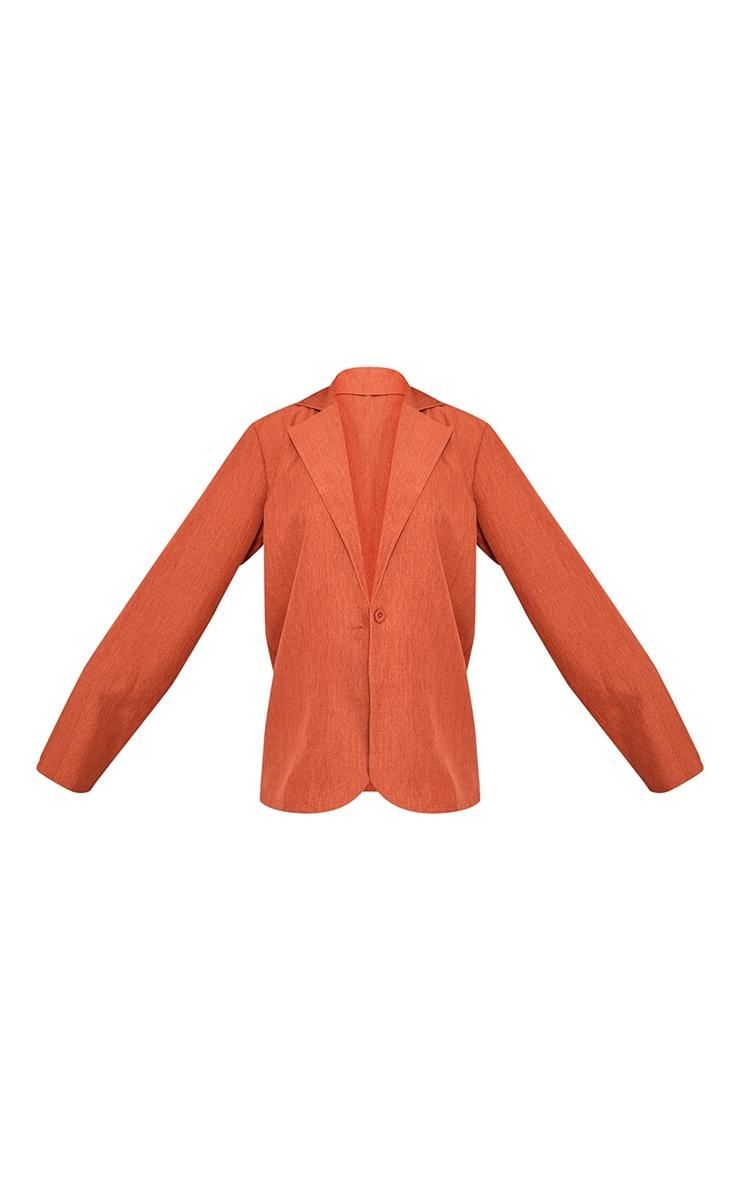 Rust Textured Woven Longline Blazer 5