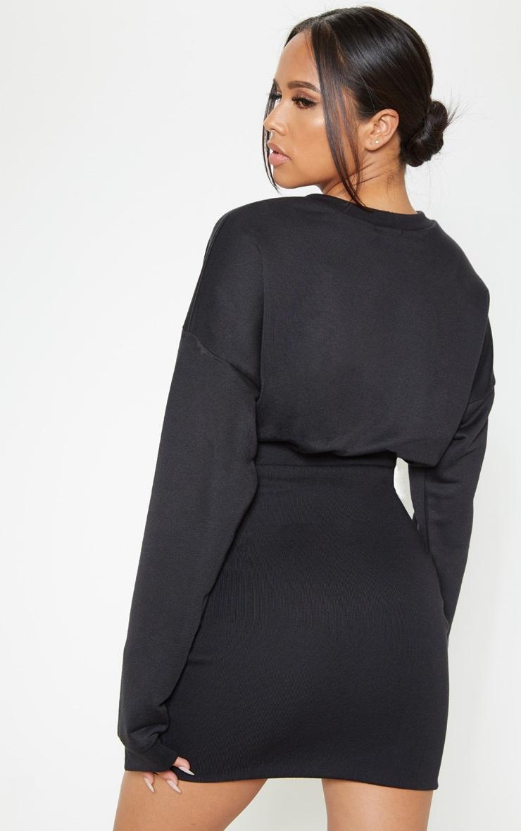 Black Gathered Bodycon Jumper Dress Dresses