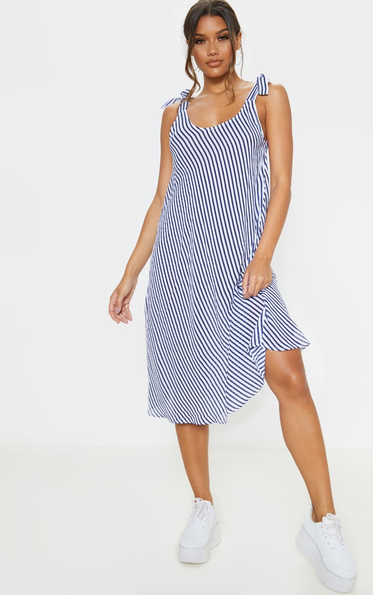 Blue Stripe Tie Shoulder Midi Dress 1
