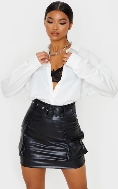 Black Faux Leather Belted Cargo Pocket Mini Skirt