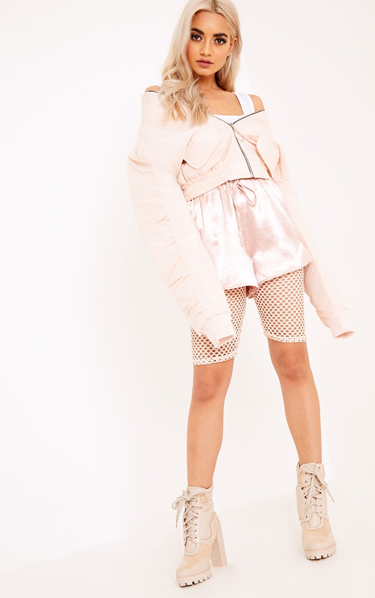 Deserae Nude Cropped Statement Zip Pull Bomber Jacket 4