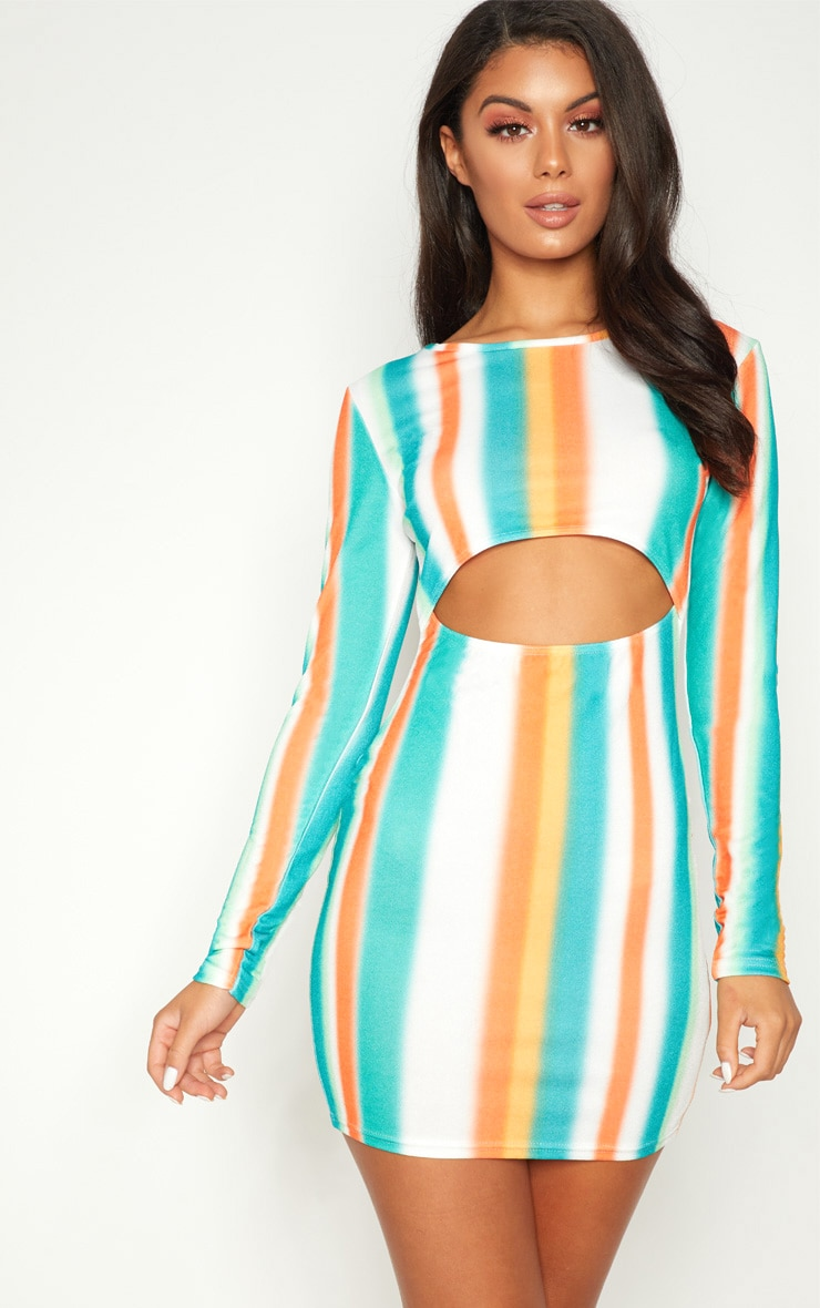 Multi Stripe Under Boob Long Sleeve Bodycon Dress 1