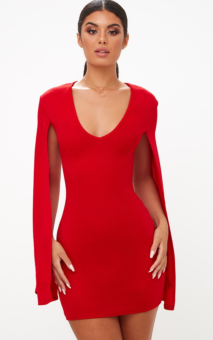 d8f41db5065e Red Split Arm Bodycon Dress. Dresses