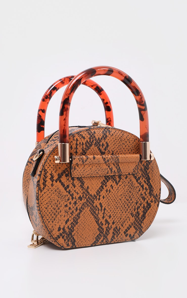 Tan Snakeskin Tortoiseshell Handle Cross Body Bag 2