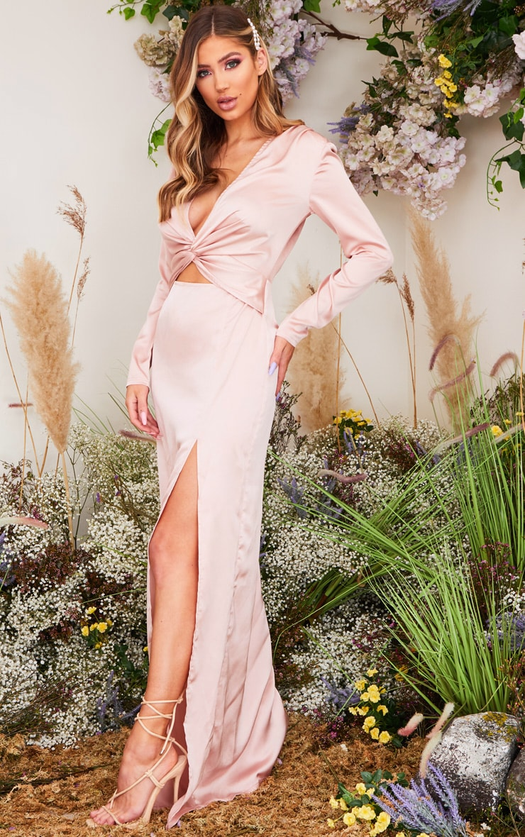 Dusty Pink Twist Detail Long Sleeve Satin Maxi Dress