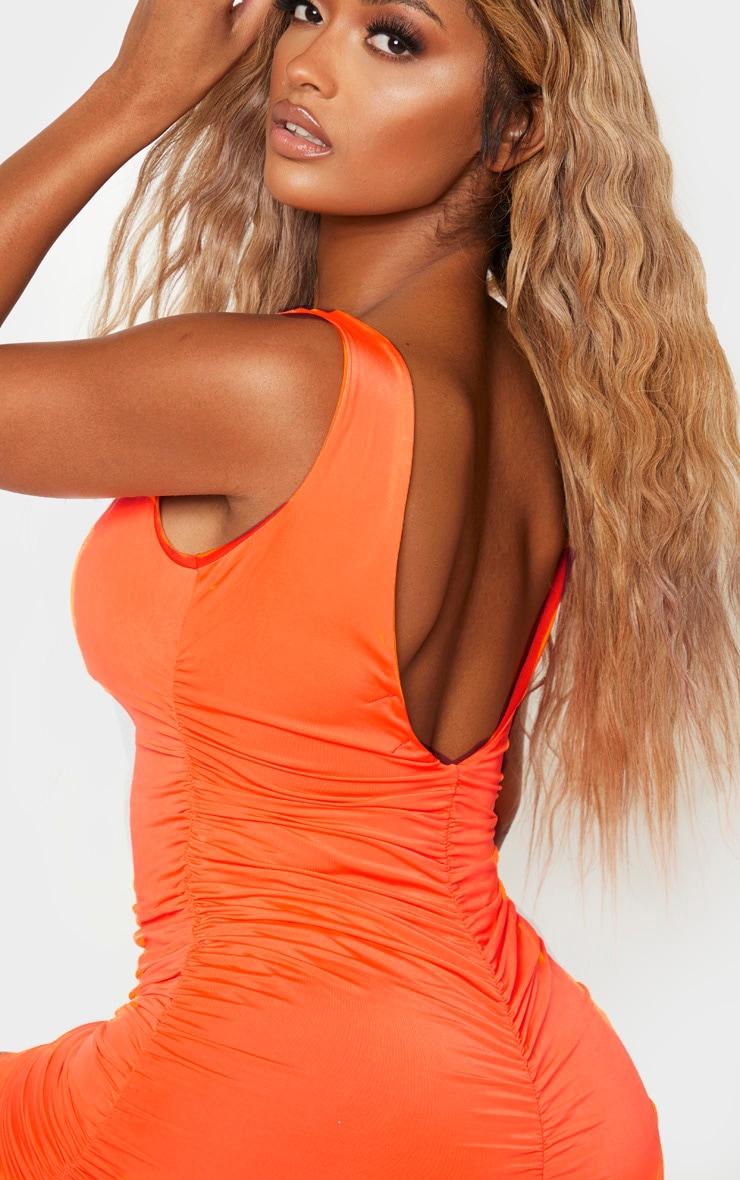 Shape Neon Orange Plunge Ruched Skirt Bodycon Dress 5