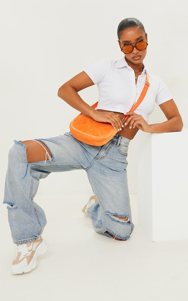 Orange Velour Diamond Quilted Shoulder Bag 1