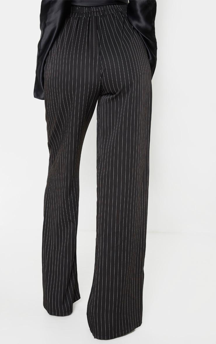 Tall Black Pinstripe Wide Leg Elasticated Flared Trouser 4