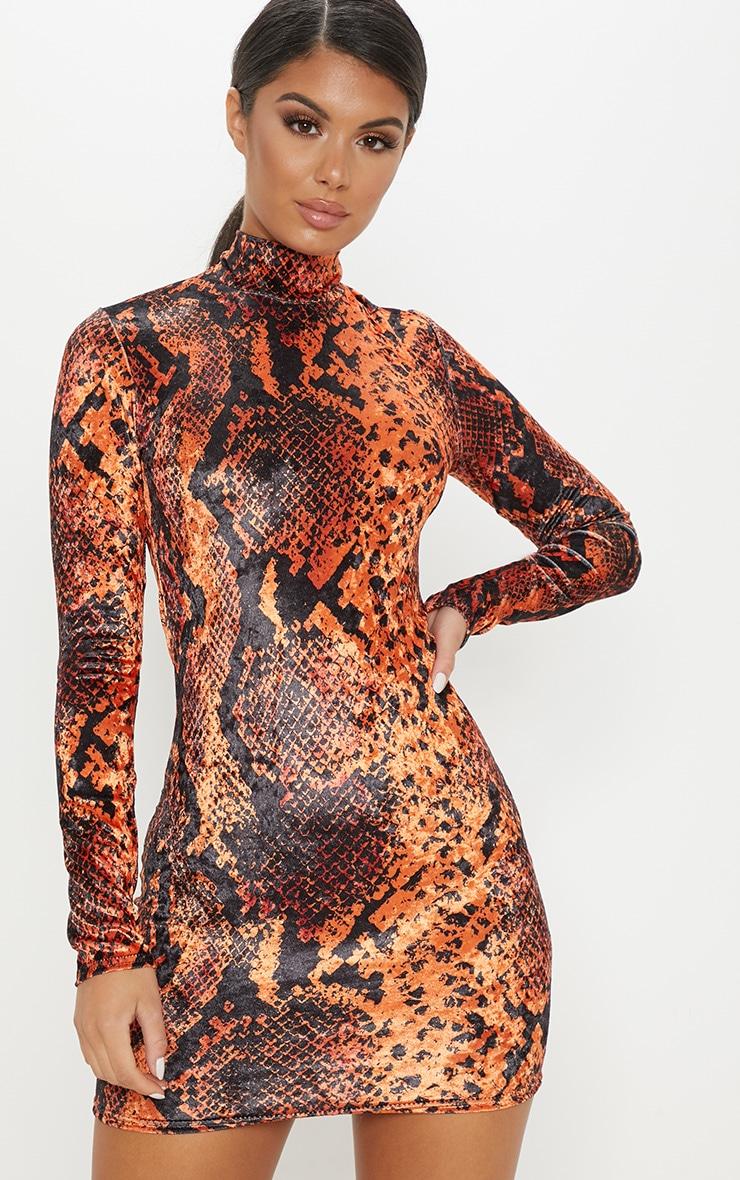 bf6682c3d0 Orange Velvet Snake Dress   Dresses   PrettyLittleThing AUS