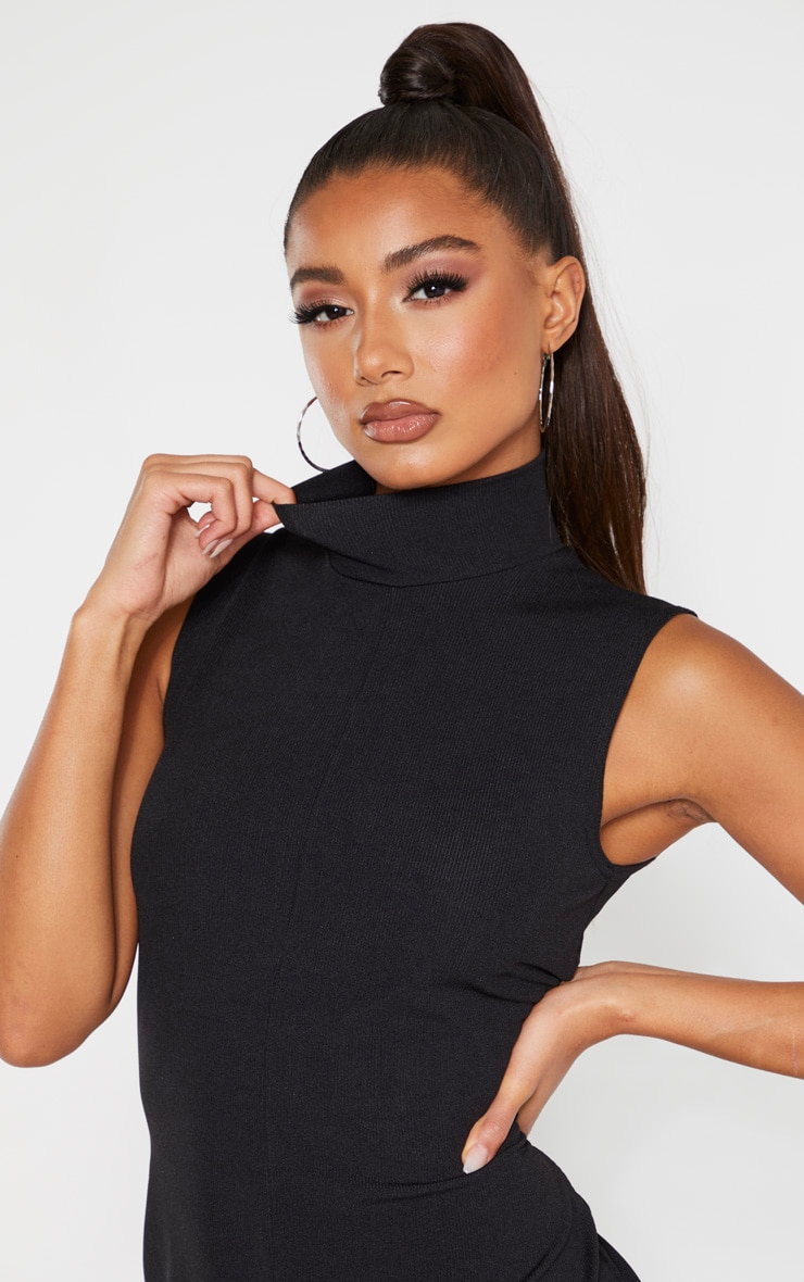Black High Neck Wide Leg Rib Jumpsuit 5