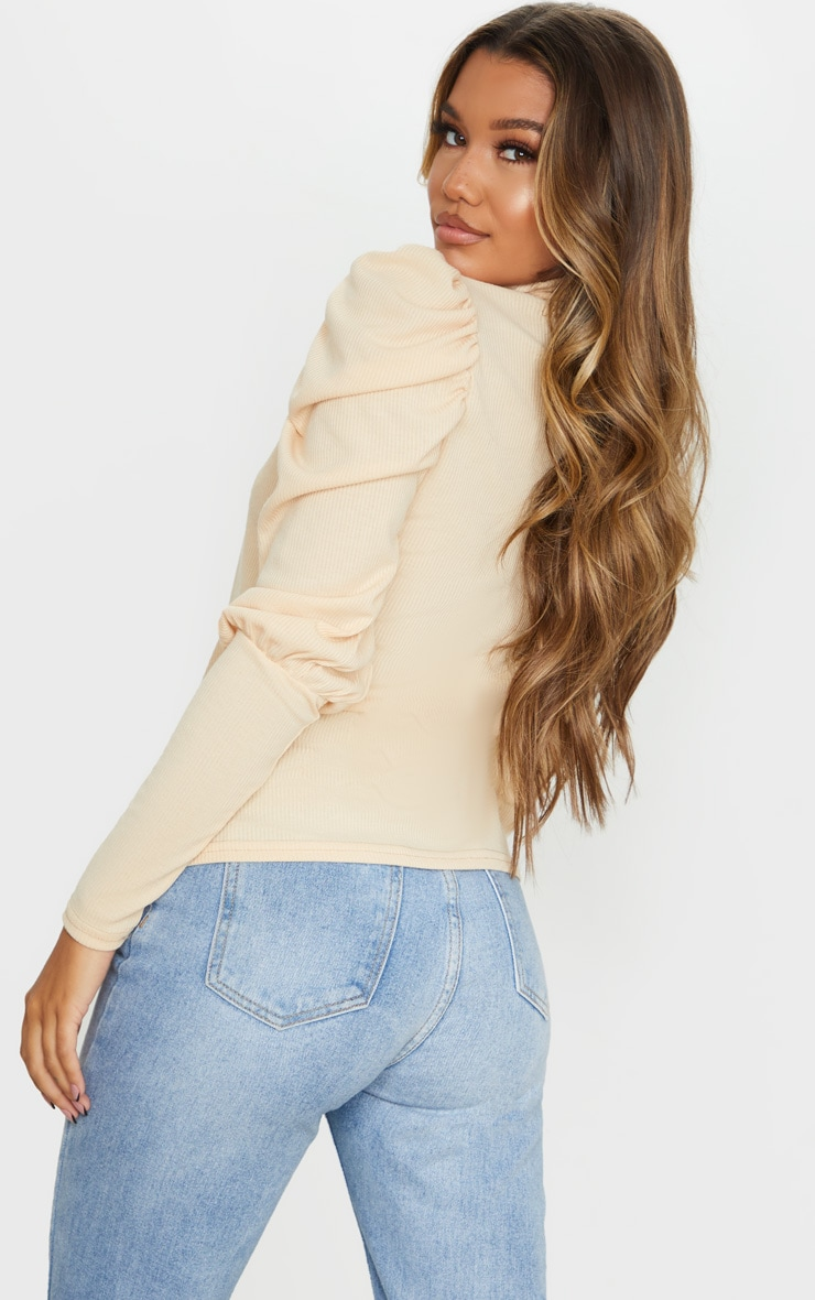 Sand Rib Puff Sleeve Long Top 2