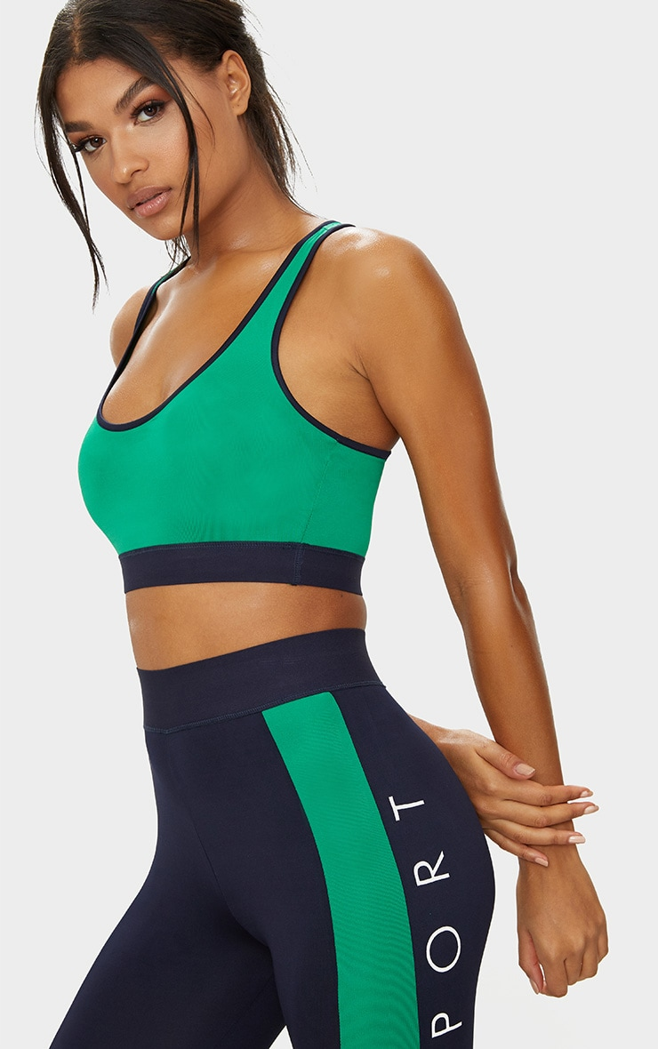 Green Contrast Sports Bra 1