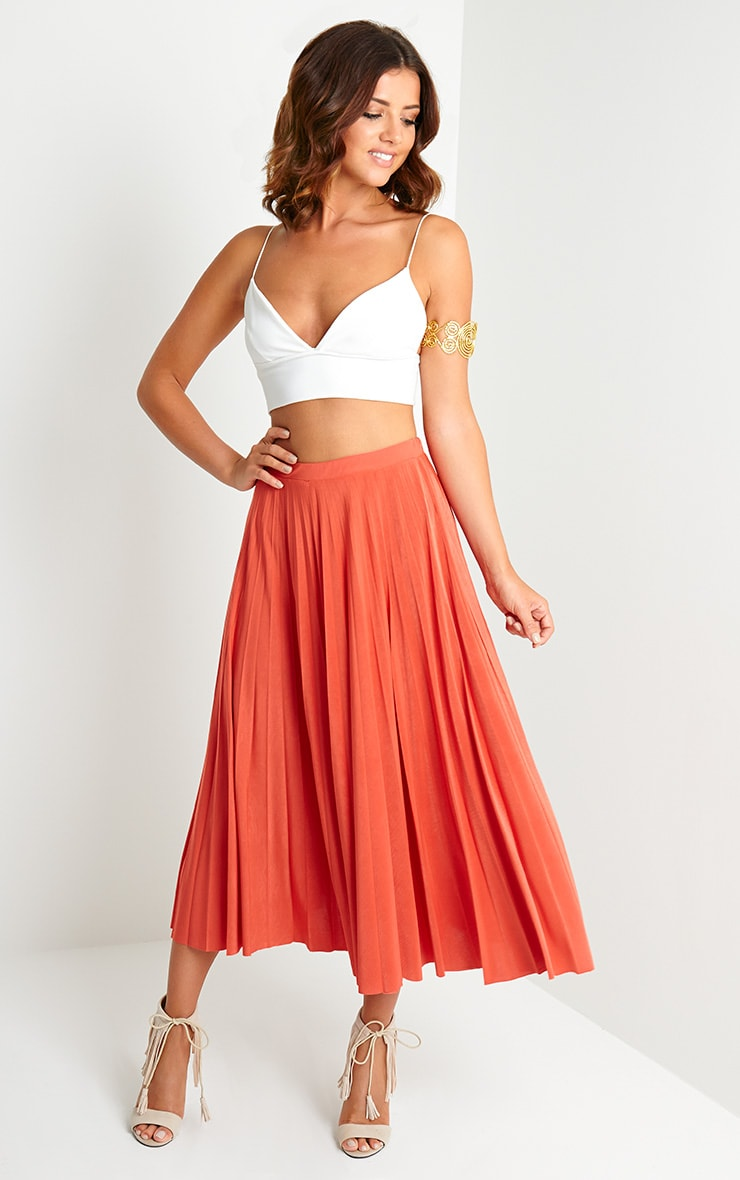 Chelsey Orange Pleated Skirt 1