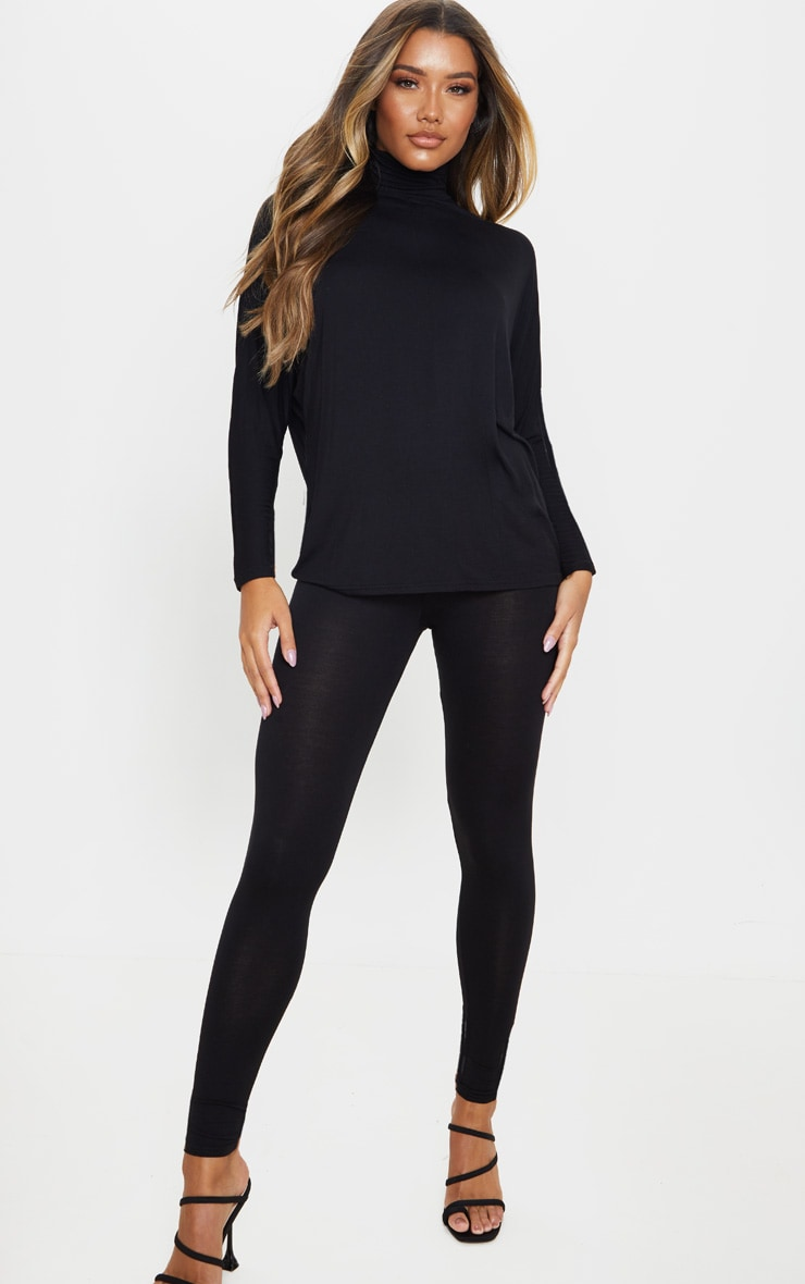 Black Jersey High Neck Long Top 4