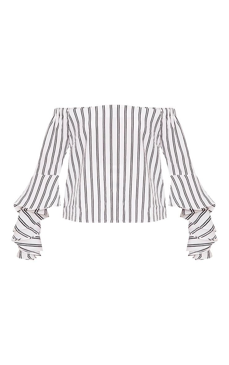 Asa White Bardot Stripe Woven Frill Sleeve Blouse 3