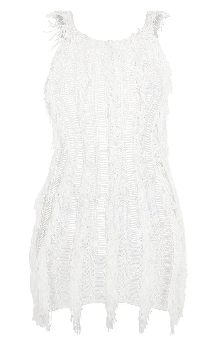 Cream Fringe Detail Knitted Dress 3
