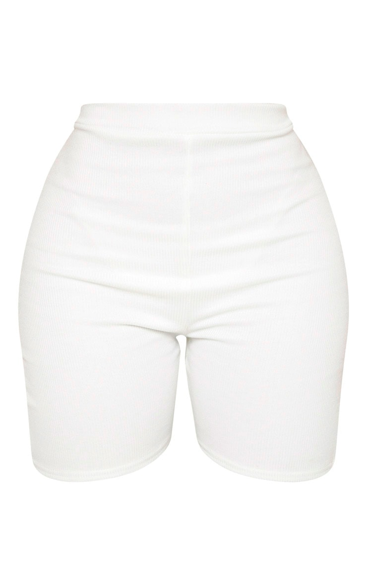 Shape White Ribbed High Waist Bike Short 3