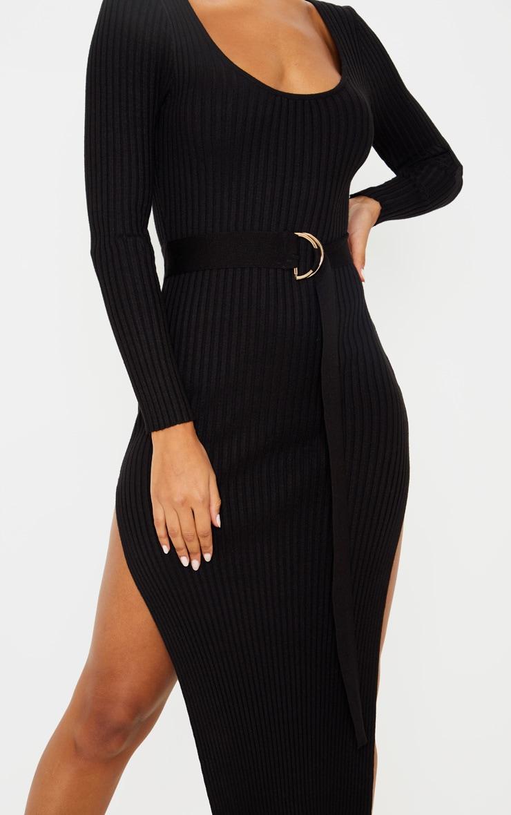Black Long Sleeve Belted Knit Rib Dress 5