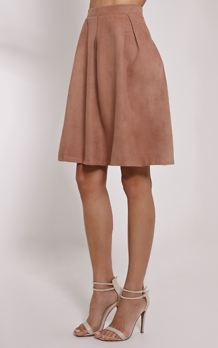Teagon Tan Pleated Faux Suede A-Line Midi Skirt 3