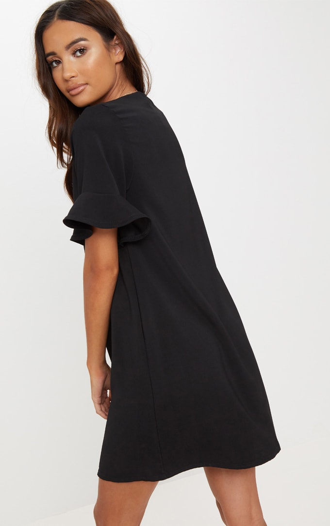 Black Button Through Frill Sleeve Shift Dress 2