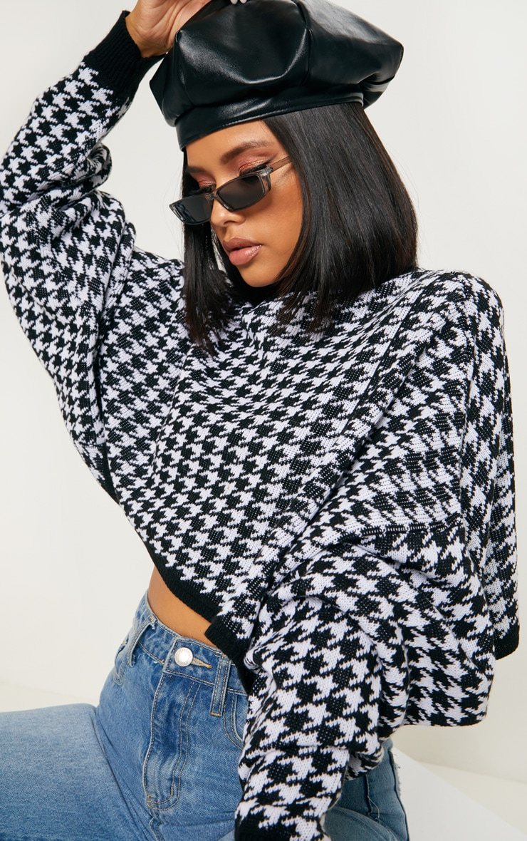 Mono Knitted Dogtooth Crop Jumper 5