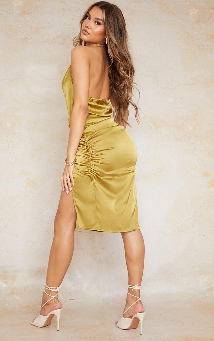 Olive Satin Halterneck Ring Detail Ruched Midi Dress 2