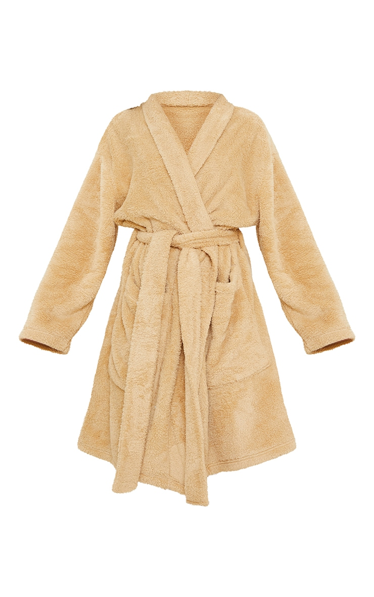 Stone Oversized Fluffy Dressing Gown 5