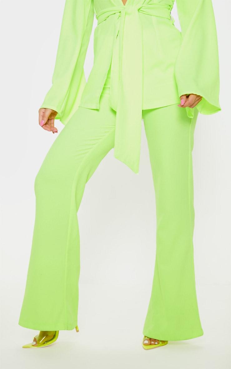 Petite Neon Lime Wide Leg Suit Pants 2