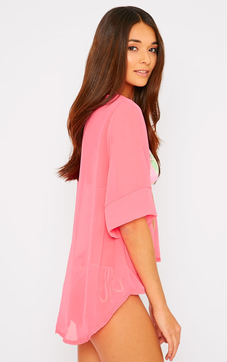 Raina Neon Pink Sheer Cropped Kimono 3