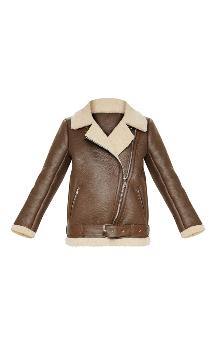 Veste aviateur marron oversized en similicuir 3