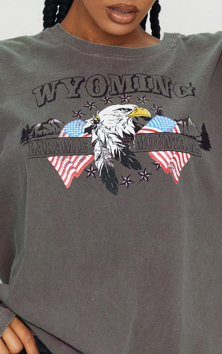 Chocolate Wyoming Printed Washed Long Sleeve T Shirt 4