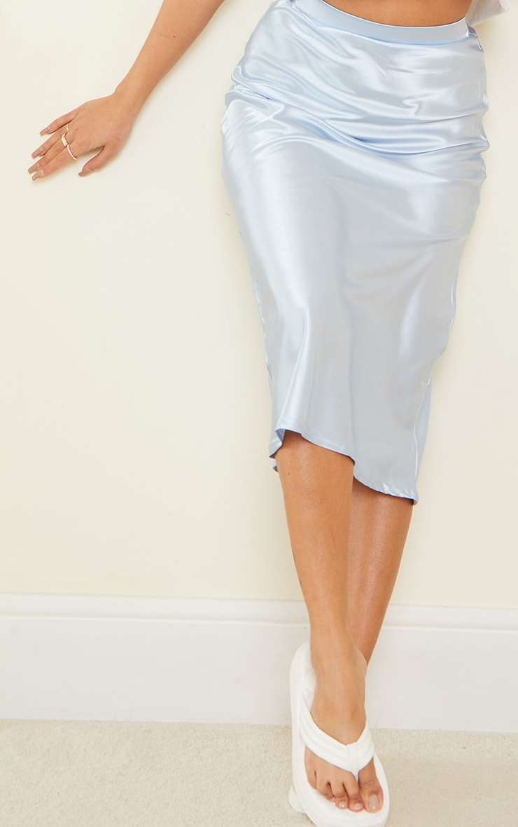 Petite Dusky Blue Satin Bias Cut Midi Skirt 4