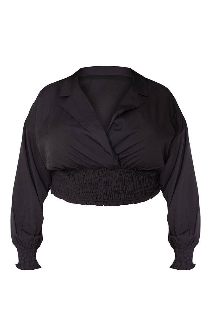 Plus Black Shirred Waist Plunge Crop Blouse 5