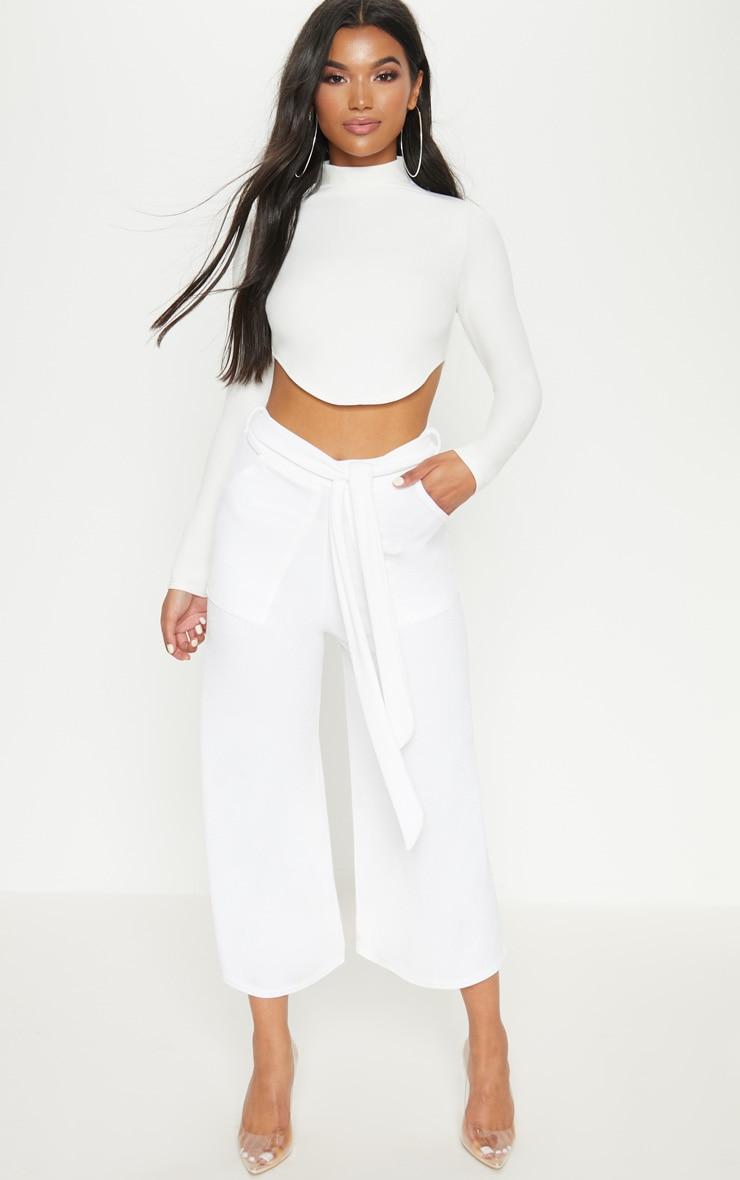 White Tie Waist Culotte 1