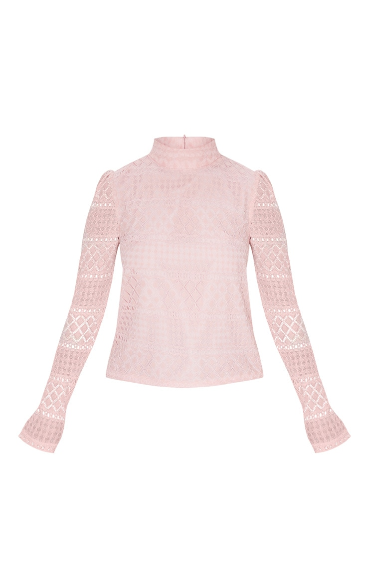 Petite Dusty Pink Long Sleeve Lace Blouse 3