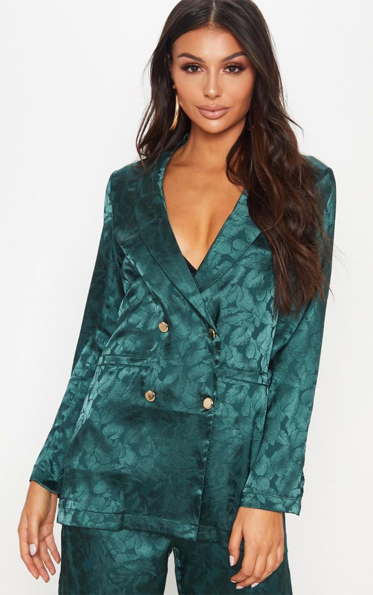 Emerald Green Floral Print Satin Blazer