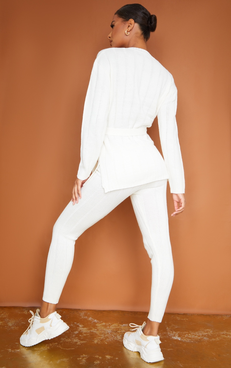 Cream Belted Longline Sweater And Legging Lounge Set 2