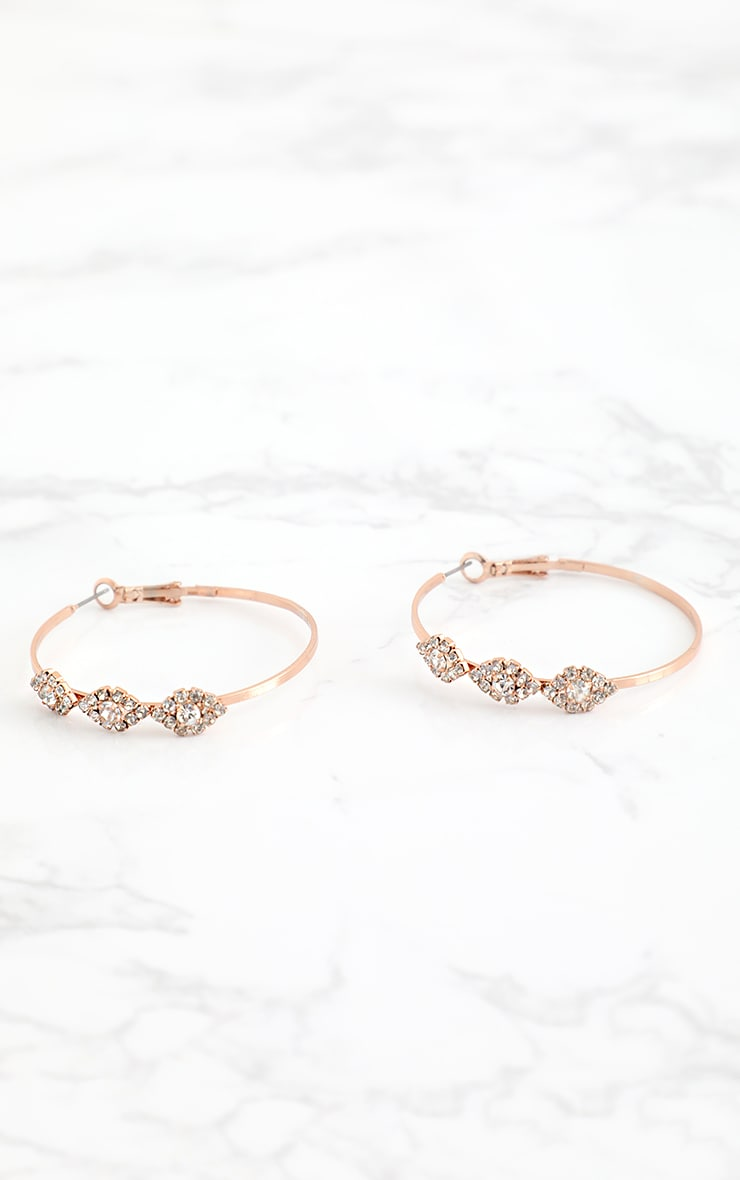 Rose Gold Diamante Trim Hoop Earrings 3