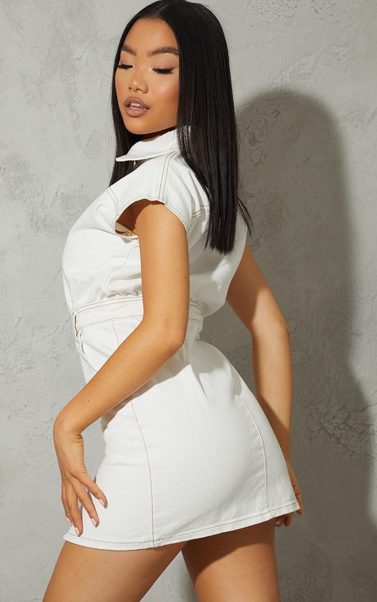 Petite White Sleeveless Denim Dress 2