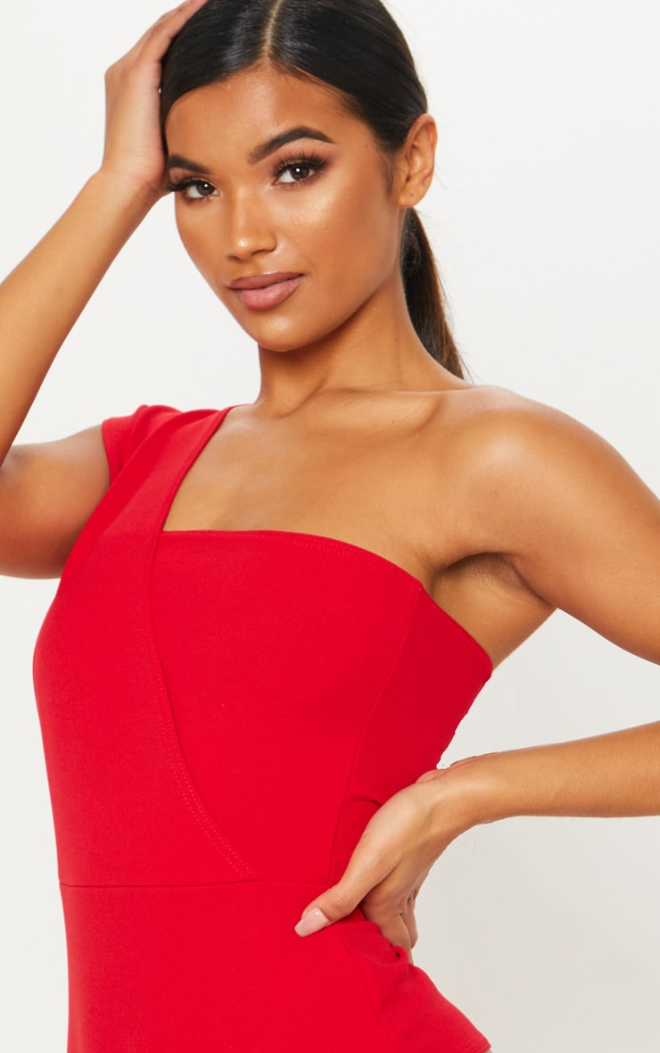 Red One Shoulder Bodysuit 6
