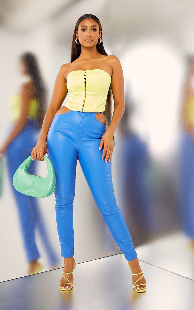 Bright Blue Faux Leather Cut Out Detail Skinny Trousers 1