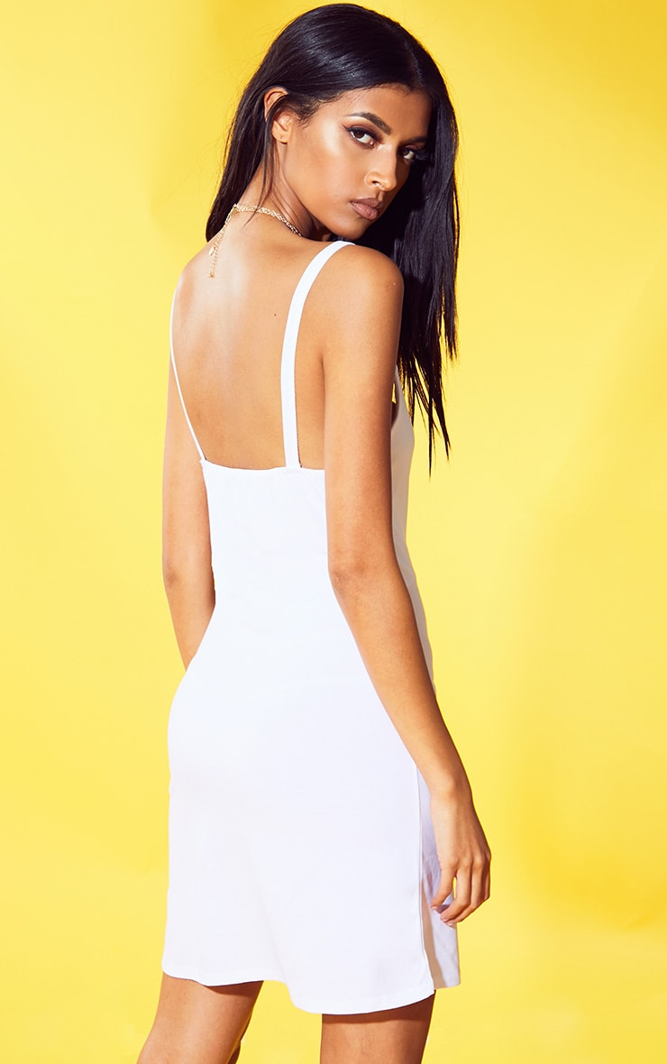 White Strappy Shift Dress 2