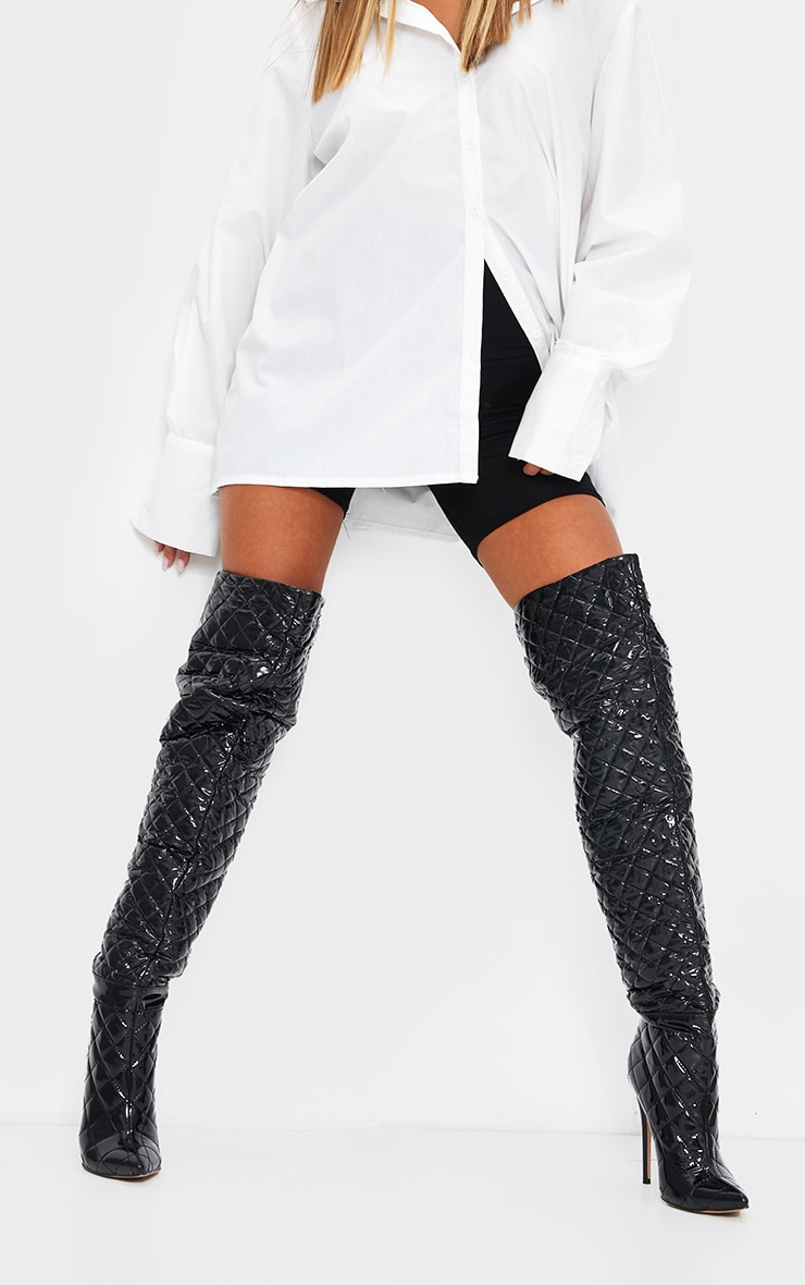 Black Vinyl Quilted Thigh High Boots 1