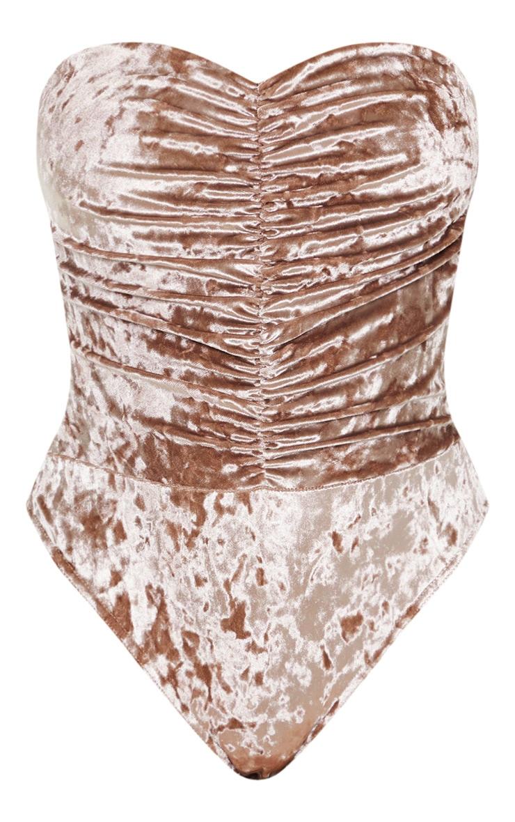 Mocha Velvet Bandeau Ruched Front Bodysuit 3