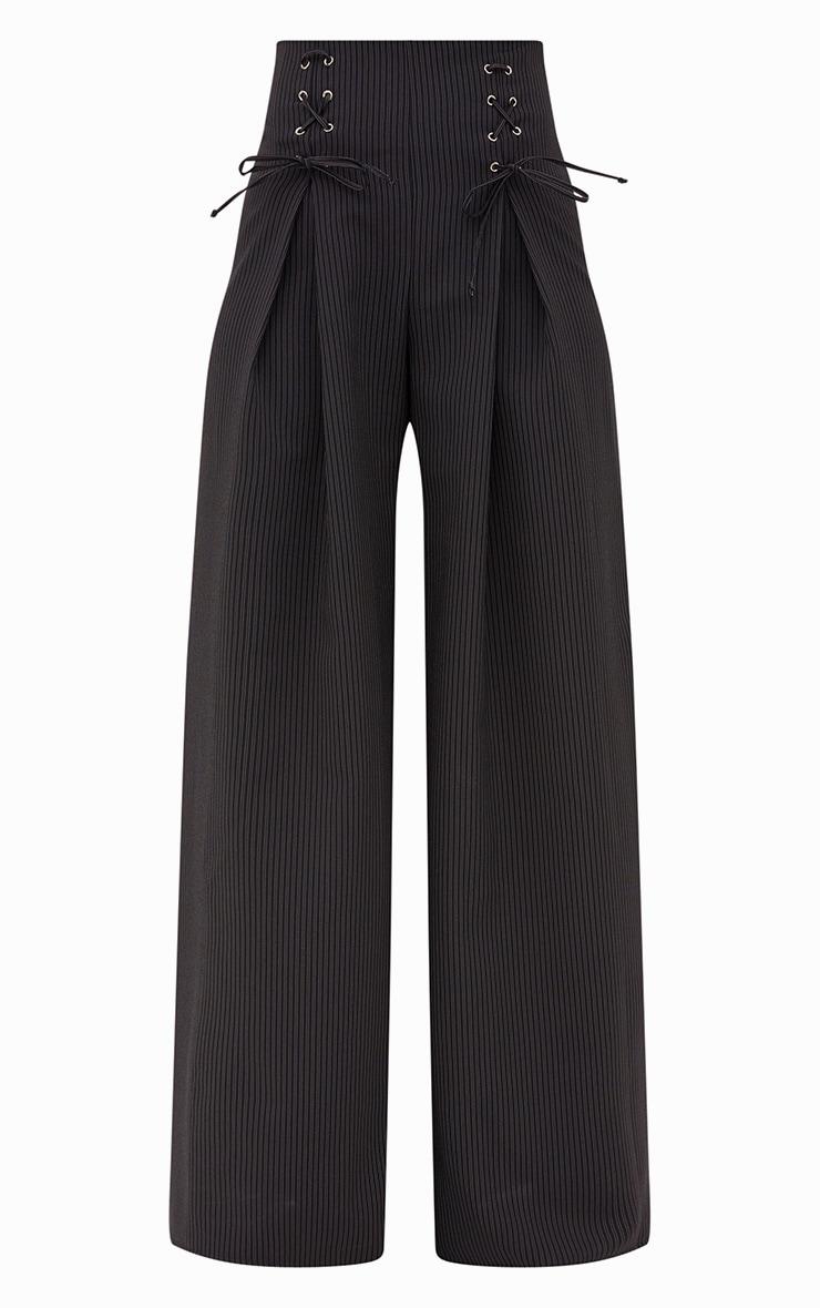 Black Pinstripe Lace Up Wide Leg Trousers 3