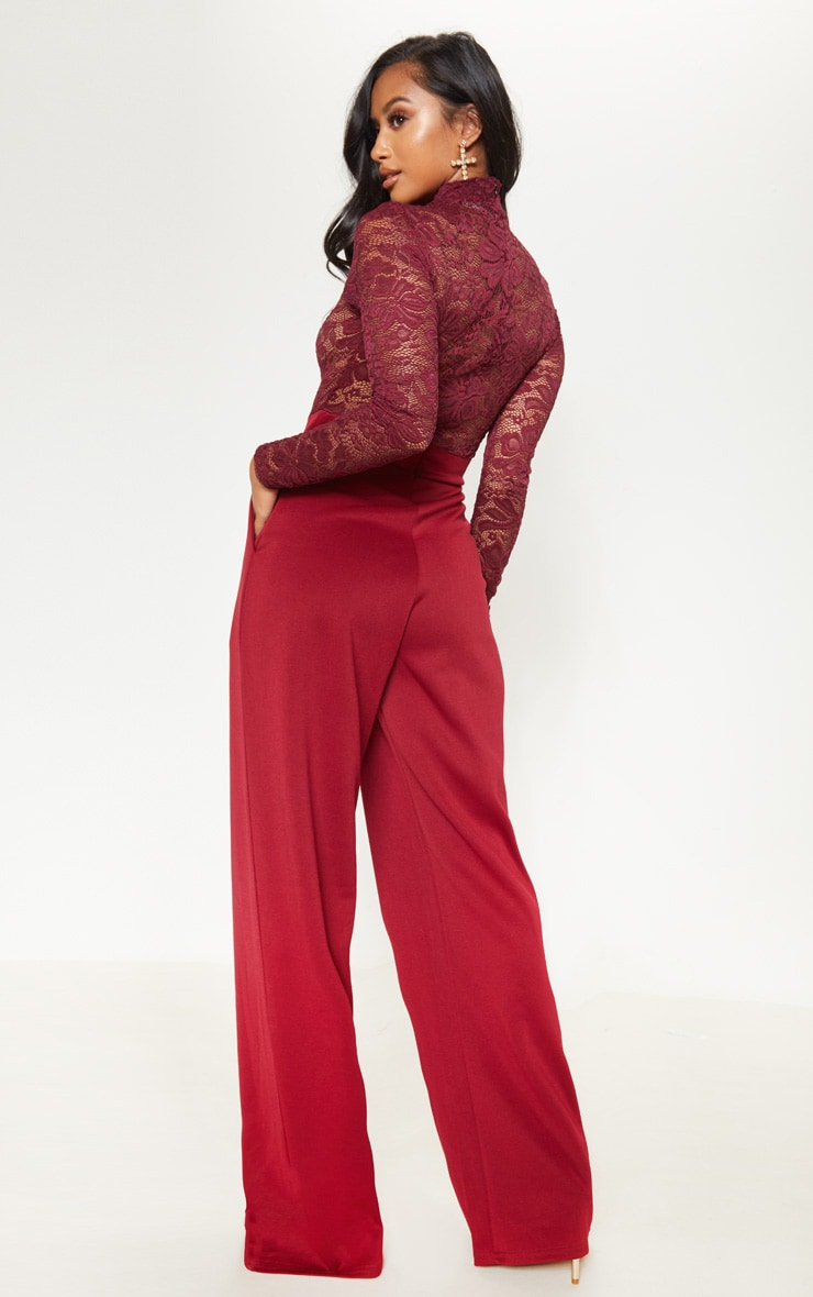 Petite Burgundy Lace High Neck Long Sleeve Jumpsuit 2