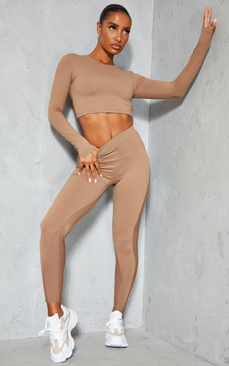 Brown Long Sleeve Lace Up Back Sport Top 3