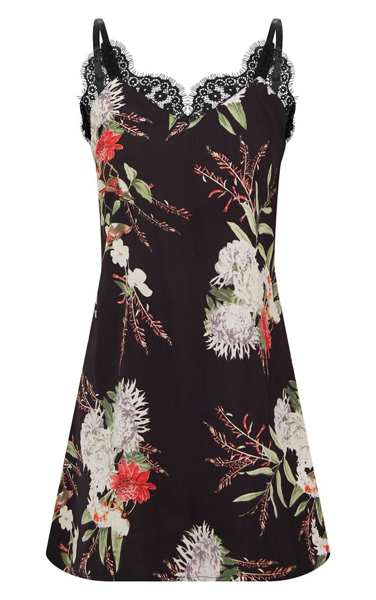 Black Floral Lace Trim Slip Dress 3