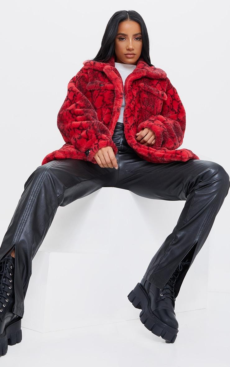 Red Snake Print Faux Fur Coat 3