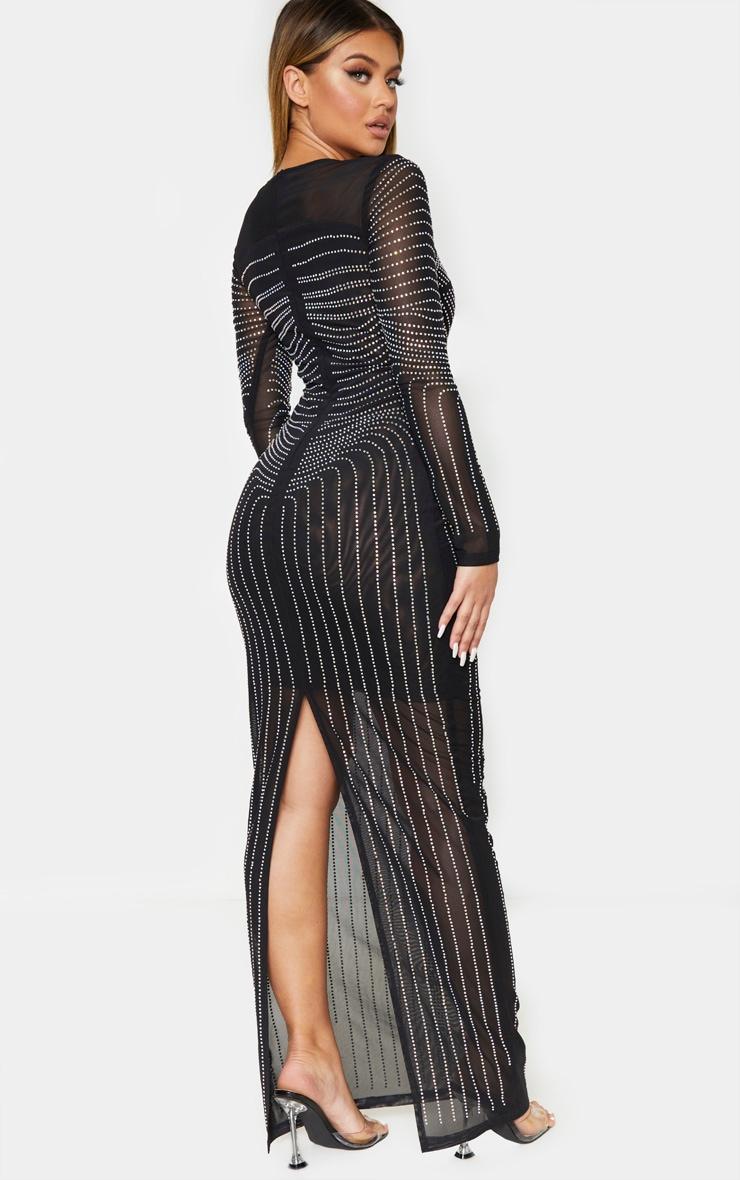 Black Diamante Embellished Mesh Long Sleeve Maxi Dress 2